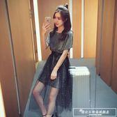 網紗連身裙兩件套女夏季2018新款韓版潮中長款半身裙時尚套裝裙子『韓女王』