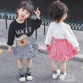 女童韓版春秋新款寶寶格子洋裝兒童裙子韓版潮  原本良品