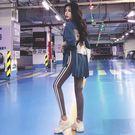 套裝女夏2018新款韓版氣質寬松印花中長款開叉T恤 拼色小腳打底褲