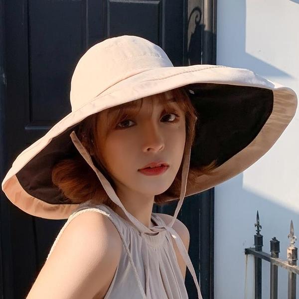 漁夫帽 夏季超大帽檐遮陽帽漁夫帽子女大沿帽防曬太陽帽遮臉防紫外線全臉-Ballet朵朵