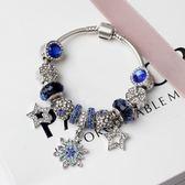 水晶串珠手鍊 藍色系水晶 歐美風創意飾品女手環手鐲《印象精品》yq117