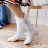 兒童長靴 女童靴子秋冬季新款中大童白色長靴學生小高跟高筒靴兒童靴子【韓國時尚週】
