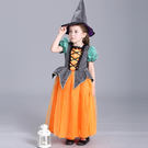 萬聖節 女童服裝 南瓜女巫魔法師披風 連身裙洋裝 17401021