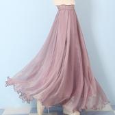 長裙 海邊拖地長裙仙女8米大擺裙沙灘度假金絲雪紡半身裙