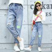 女童破洞牛仔褲寬鬆版夏季2019新款潮洋氣休閒兒童中大童時尚褲子 FR9430『俏美人大尺碼』