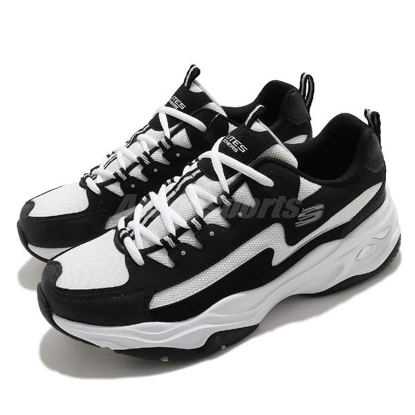 Skechers 老爹鞋 D Lites 4.0 男鞋 黑 白 熊貓閃電 厚底 休閒鞋 【ACS】 237225BKW