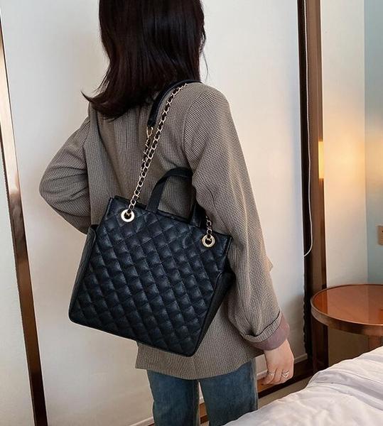 側背包高級感包包時尚大容量菱格錬條包時尚手提包女新款洋氣單肩包