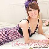 性感網紗睡衣裙組 深V黑色蕾絲美胸 顯瘦三色直條紋 沁甜美姬 五線譜(紫)