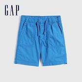 Gap男童 工裝風繫帶透氣短褲 702071-藍色