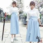 改良漢服中國風繡花一片式系帶襦裙半裙團服套表演服 降價兩天