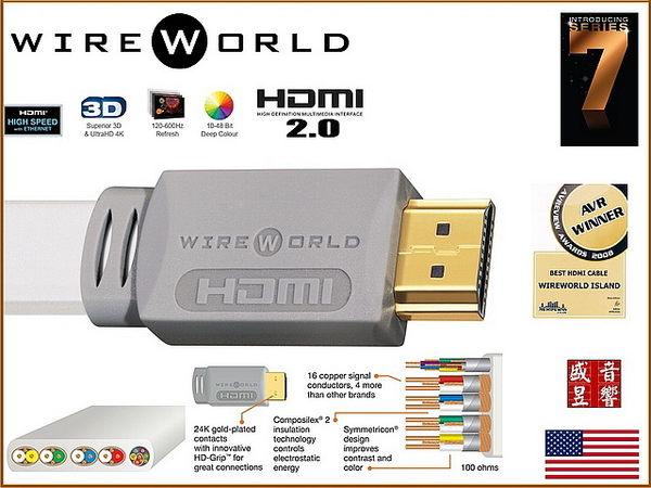 盛昱音響【現貨來電/店殺】美國 WireWorld ISLAND 7 HDMI 2.0 版 【2米】【外縣市隔日火速到貨】