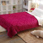 頂級雙面絨舒柔日式雕花毯被-不可入被胎-西班牙紅-夢棉屋