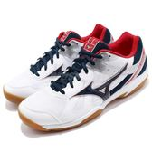 Mizuno 排羽球鞋 Cyclone Speed 白 藍 深藍 膠底 高抓地力 透氣 運動鞋 男鞋【PUMP306】 V1GA1780-14