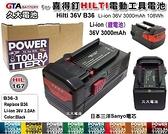 【久大電池】 喜得釘 HILTI 電動工具電池 B36 B36-3 B36/30 36V 3000mAh 108Wh