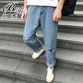 寬褲 刷破抽鬚老爺褲直筒丹寧九分褲【NW659064】
