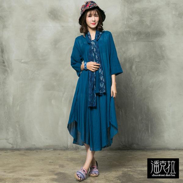 圍巾釦可拆連身裙(藍色)-F【潘克拉】