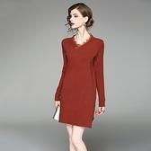 洋裝-長袖V領針織拼接蕾絲女連身裙2色73of117[巴黎精品]