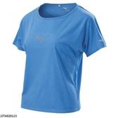MIZUNO 女裝 上衣 短袖 吸汗 快乾 反光燙印 透氣 拼接 藍【運動世界】J2TA920123