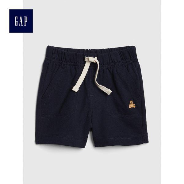 Gap男嬰兒 布萊納小熊刺繡舒適鬆緊腰抽繩短褲 441244-海軍藍色