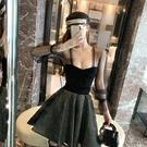 小禮服 網紅裙子女2020新款名媛顯瘦夏裙赫本風性感網紗假兩件連衣裙收腰
