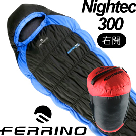 【FERRINO 義大利 LIGHTEC 300毛毛蟲全開化纖睡袋(右開 -1℃ 600g)】D486304/