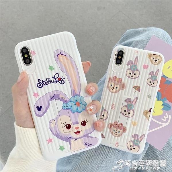卡通紫色兔子支架殼8plus蘋果x手機殼XS Max/XR/iPhoneX/7p/6s女iPhone 時尚芭莎