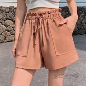 2020夏季新款韓版大碼短褲女寬鬆高腰垂感花苞工裝雪紡外穿寬管褲 魔法鞋櫃