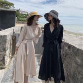 VK精品服飾 法式赫本小黑裙寬鬆氣質長袖洋裝