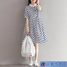 小清新襯衫洋裝 夏季新款女裝復古文藝條紋...