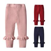 甜美捲邊褲管坑條內搭褲 褲子 童裝
