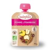 BABYBIO 有機蘋果覆盆莓纖果泥90g-法國原裝進口6個月以上嬰幼兒專屬副食品