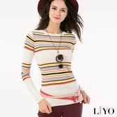 LIYO理優百搭彈性條紋針織上衣E637010
