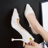 婚鞋 名媛宴會派對細跟淺口單鞋少女高跟鞋2019新款尖頭細跟工作女鞋 DR27239【Rose中大尺碼】