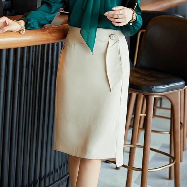 腰際荷葉垂飾上班及膝裙[21S228-PF]美之札