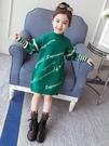 女童洋裝 加厚連身裙2019秋冬裝新款韓版洋氣兒童針織衫中長款毛衣裙 百分百