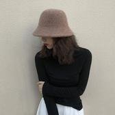 帽子 加厚羊毛呢漁夫帽子女秋冬盆帽毛線針織帽保暖韓國折疊日系百搭潮