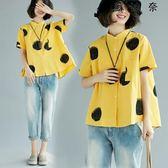 大碼棉麻襯衫寬鬆短袖亞麻上衣 SDN-4024