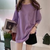 長版T恤 t恤女短袖正韓bf寬鬆超大款200斤胖mm中長款純棉半袖大版上衣服夏