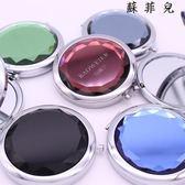 水晶化妝鏡子金屬折疊雙面化妝鏡
