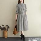 棉麻洋裝 韓版寬鬆棉麻格子襯衫裙女秋季顯瘦長袖中長款收腰抽繩亞麻連身裙 新年特惠