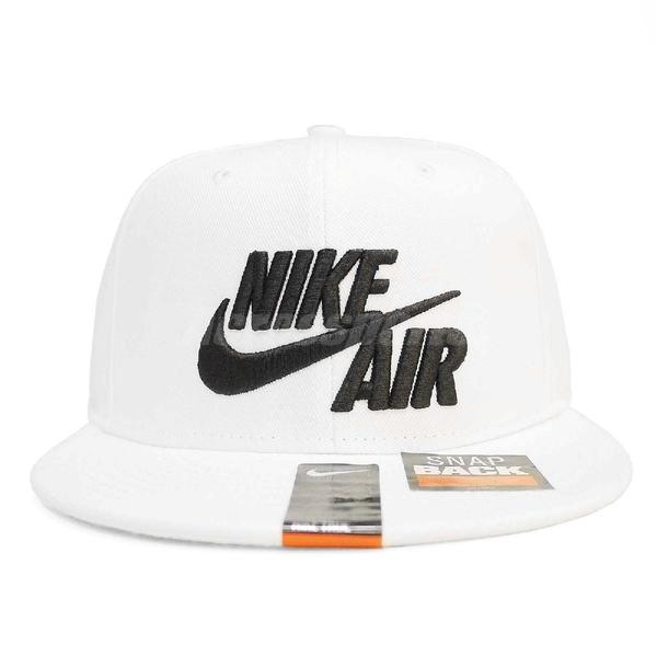 Nike 帽子 Air True - Eos 白 黑 電繡 Snapback Cap 黑 白 電繡 LOGO 後扣式 棒球帽 男女款 【ACS】 805063-100