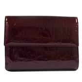 茱麗葉精品 展示全新 Christian Dior 經典LOGO全漆皮壓紋扣式零錢短夾.暗紅