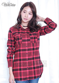 Victoria 磨毛格紋腰帶長版長袖襯衫-女-紅格