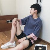 售完即止-港風夏季男士短袖T恤韓版韓版寬鬆七分袖學生百搭假兩件五分袖10-15(庫存清出T)