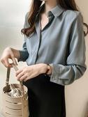 雪紡襯衫女士秋季新款設計感小眾OL氣質上衣長袖寬鬆白色職業襯衣