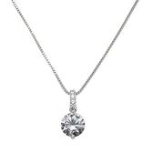 925純銀項鍊+鋯石吊墜-圓形閃耀簡約精緻女飾品74aq6【巴黎精品】