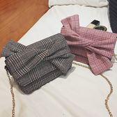 DE Shop~(M-1099)時尚百搭鏈條格子蝴蝶結單肩小方包斜背包