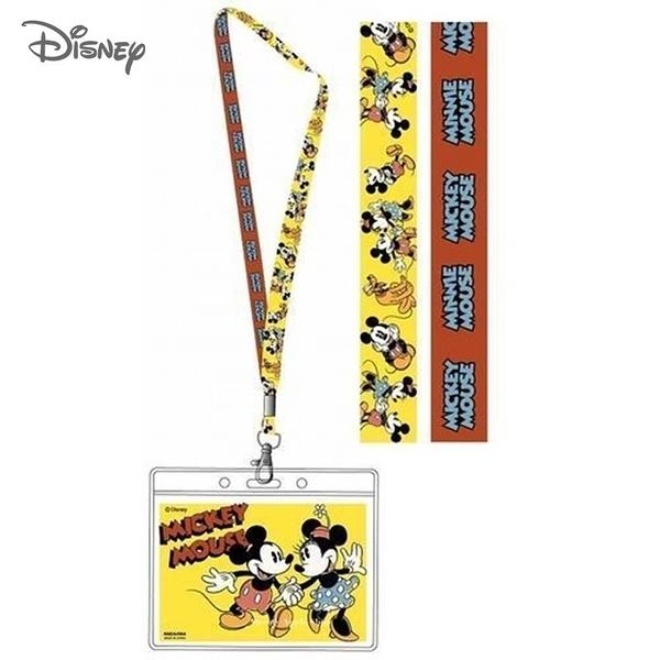 日本限定 迪士尼 米奇&米妮 MICKEY MOUSE 掛繩頸帶  票卡夾 / 識別證 卡套