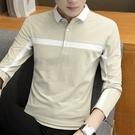 【限時下殺79折】男士長袖翻領POLO衫撞色長袖t恤棉質襯衫領潮流男士上衣