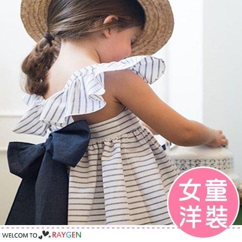 女童氣質大蝴蝶結條紋連身裙 洋裝 附三角褲